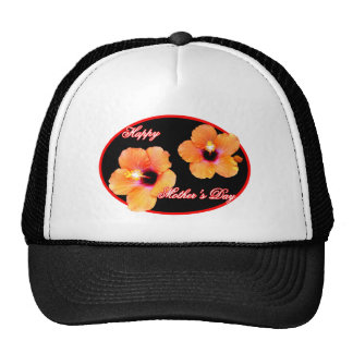 Happy Mother's Day Hibiscus Black Red Oval The MUS Hats
