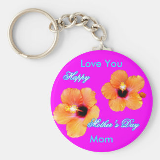 Happy Mother's Day Hibiscus Love You Mom jGibney Basic Round Button Key Ring