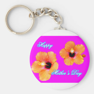 Happy Mother's Day Hibiscus Orange Magenta jGibney Basic Round Button Key Ring