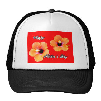 Happy Mother's Day Hibiscus Orange Red bg The MUSE Hats