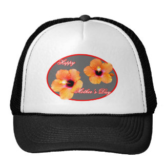 Happy Mother's Day Hibiscus Silver Red Oval The MU Mesh Hats