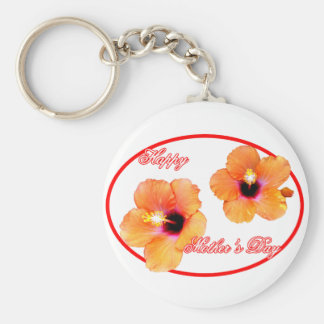 Happy Mother's Day Hibiscus Transp Red Oval jGibne Basic Round Button Key Ring