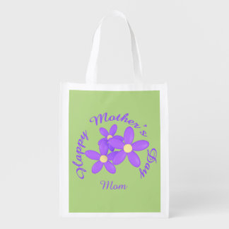 Happy Mother's Day Mom Purple Daisy on green Reusable Grocery Bag