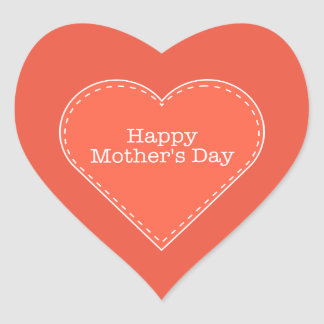 Happy Mother's Day Orange Heart Sticker