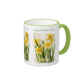 Happy Mother's Day - Painterly Daffodils Ringer Mug