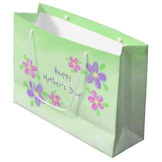 Happy Mother's Day Pastel Flowers on Green Large Gift Bag
