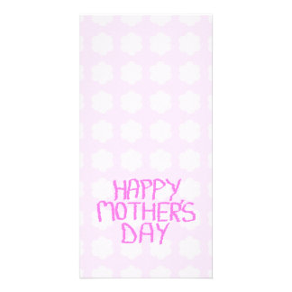 Happy Mothers Day. Pink Flower Pattern. Custom Photo Card