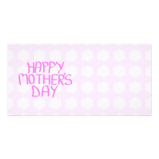 Happy Mothers Day. Pink Flower Pattern Personalized Photo Card