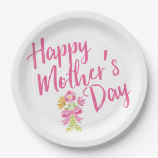 Happy Mother's Day Pink Flowers Bouquet Gift 9 Inch Paper Plate
