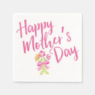 Happy Mother's Day Pink Flowers Bouquet Gift Paper Serviettes