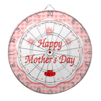 """HAPPY MOTHER'S DAY "" PINK HEARTS DARTBOARD"