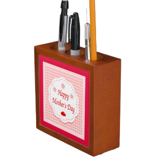 """HAPPY MOTHER'S DAY "" PINK HEARTS DESK ORGANISER"