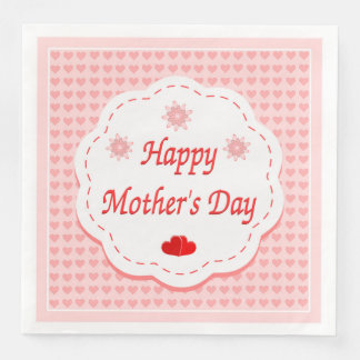 """HAPPY MOTHER'S DAY "" PINK HEARTS DISPOSABLE SERVIETTE"