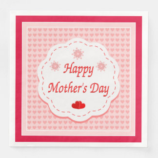 """HAPPY MOTHER'S DAY "" PINK HEARTS PAPER NAPKINS"
