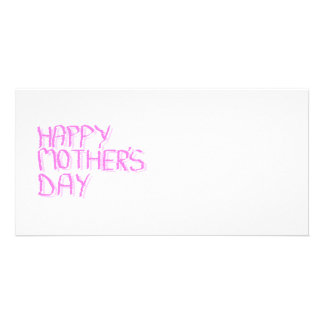 Happy Mothers Day.  Pink Letters. Custom Photo Card