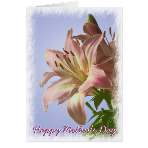 Happy Mother's Day - Pink Painterly Lily Greeting Cards