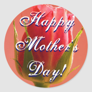 Happy Mother's Day Pink Rose Classic Round Sticker