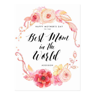 Happy Mothers Day Postcards Best Mom In The World