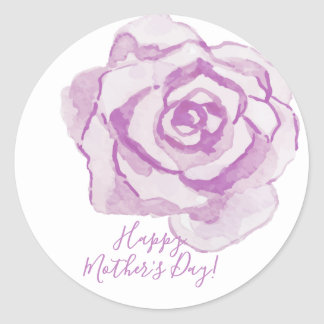 Happy Mother's Day! | Purple Watercolor Rose Classic Round Sticker