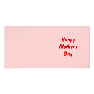 Happy Mothers Day. Red and Pink. Custom Photo Card
