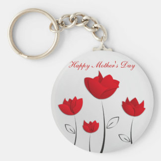 Happy Mother's Day Red Flowers Keychains