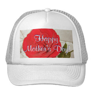Happy Mother's Day Red Rose Mesh Hat