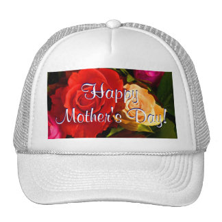 Happy Mother's Day Red Yellow Roses Cap
