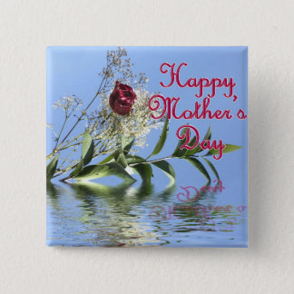 Happy Mothers Day Rosy Reflection 15 Cm Square Badge