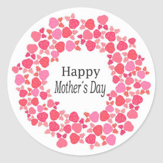 happy mothers day round sticker