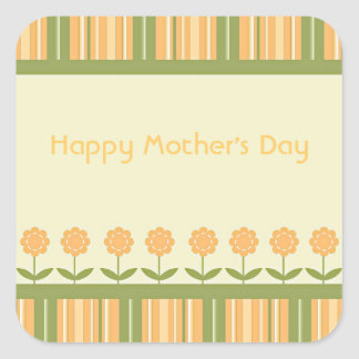 Happy Mother's Day Spring Flowers and Stripes Square Sticker