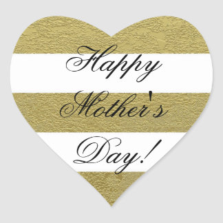 Happy Mother's Day Striped Gold White Black Heart Sticker