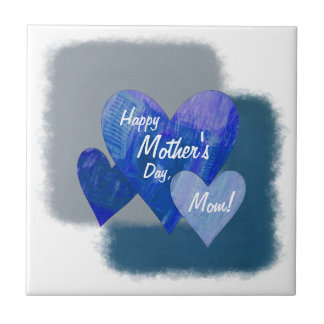 Happy Mother's Day Three Hearts Blue Small Square Tile