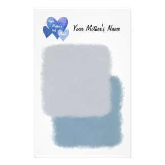 Happy Mother's Day Three Hearts Blue Personalized Stationery