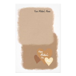 Happy Mother's Day Three Hearts Brown Custom Stationery