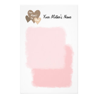 Happy Mother's Day Three Hearts Brown Customized Stationery