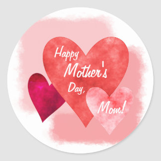 Happy Mother's Day Three Hearts Painterly Round Sticker