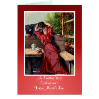 Happy Mother's Day to Wife from husband vintage Card
