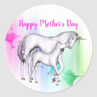 Happy Mother's Day | Unicorn with her Baby Classic Round Sticker