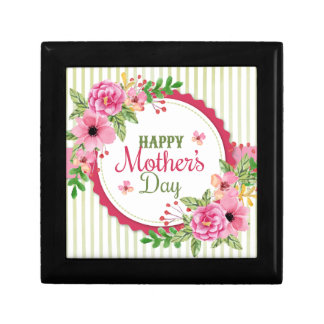 Happy mother's day vintage flower bouquet frame gift box