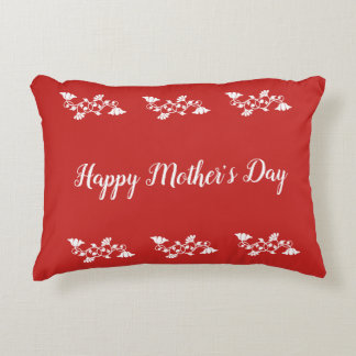 Happy Mother's Day White and Red Accent Pillow