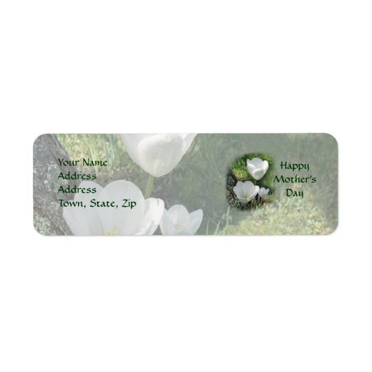 Happy Mother's Day White Tulips Return Address Label