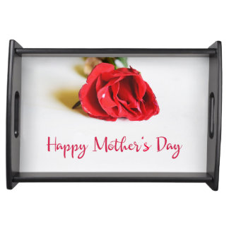 Happy Mother's Day with a Single Red Rose Serving Tray