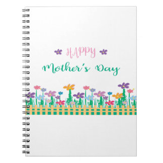 Happy Mothers Day with Flowers Unique Note Book