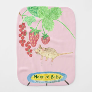 Happy mouse on a Trampoline Baby Burp Cloths