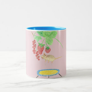 Happy Mouse on a Trampoline Two-Tone Coffee Mug