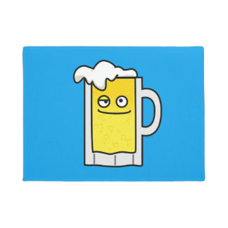 Happy Mug of Beer with Foam top Doormat