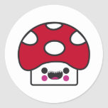 Happy Mushroom Classic Round Sticker