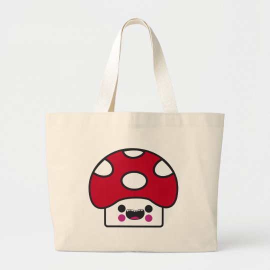 Happy Mushroom Large Tote Bag