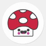Happy Mushroom Round Stickers