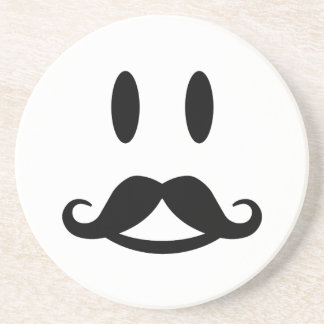 Happy Mustache Smiley custom coaster